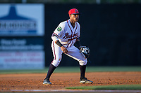 Danville Braves third baseman Luis Mejia (2) on defense against the Elizabethton Twins at American Legion Post 325 Field on July 1, 2017 in Danville, Virginia.  The Twins defeated the Braves 7-4.  (Brian Westerholt/Four Seam Images)