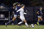 WINSTON-SALEM, NC - NOVEMBER 10: Wake Forest's Maddie Huster (11) and Georgetown's Chloe Knott (NZL) (14). The Wake Forest University Demon Deacons hosted the Georgetown University Hoyas on November 10, 2017 at W. Dennie Spry Soccer Stadium in Winston-Salem, NC in an NCAA Division I Women's Soccer Tournament First Round game. Wake Forest advanced 2-1 on penalty kicks after the game ended in a 0-0 tie after overtime.