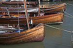 Old wooden boats on River Deben, Woodbridge, Suffolk, England