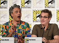 FX FEARLESS FORUM AT SAN DIEGO COMIC-CON© 2019: L-R: Writer/Producer/Cast Member Taika Waititi and Executive Producer Paul Simms during the WHAT WE DO IN THE SHADOWS panel on Saturday, July 20 at SAN DIEGO COMIC-CON© 2019. CR: Frank Micelotta/FX/PictureGroup © 2019 FX Networks