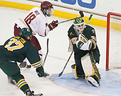 Ross Colton (UVM - 37), Colin White (BC - 18), Stefanos Lekkas (UVM - 40) - The visiting University of Vermont Catamounts tied the Boston College Eagles 2-2 on Saturday, February 18, 2017, Boston College's senior night at Kelley Rink in Conte Forum in Chestnut Hill, Massachusetts.Vermont and BC tied 2-2 on Saturday, February 18, 2017, Boston College's senior night at Kelley Rink in Conte Forum in Chestnut Hill, Massachusetts.