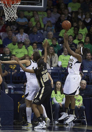 December 29, 2012:  Notre Dame guard Jewell Loyd (32) goes up for a shot during NCAA Women's Basketball game action between the Notre Dame Fighting Irish and the Purdue Boilermakers at Purcell Pavilion at the Joyce Center in South Bend, Indiana.  Notre Dame defeated Purdue 74-47.