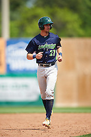 Vermont Lake Monsters designated hitter Eli White (27) running the bases during a game against the Auburn Doubledays on July 13, 2016 at Falcon Park in Auburn, New York.  Auburn defeated Vermont 8-4.  (Mike Janes/Four Seam Images)