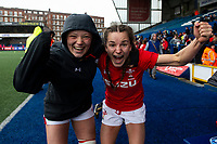 Alisha Butchers and Jasmine Joyce of Wales celebrate at full time during the Women's Six Nations match between Wales and Ireland at Cardiff Arms Park, Cardiff, Wales, UK. Sunday 17 March 2019