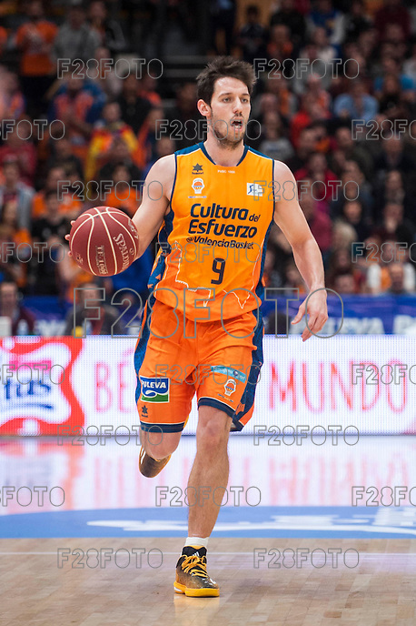 VALENCIA, SPAIN - MARCH 5: Sam Van Brossom during EURO CUP match between Valencia Basket Club and Bascelona F.C. Basket at Fonteta Stadium on March 22, 2015 in Valencia, Spain