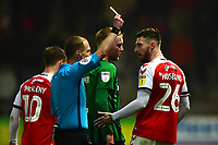 Referee Martin Coy shows a yellow card to Fleetwood Town's James Husband<br /> <br /> Photographer Richard Martin-Roberts/CameraSport<br /> <br /> The EFL Sky Bet League One - Fleetwood Town v Coventry City - Tuesday 27th November 2018 - Highbury Stadium - Fleetwood<br /> <br /> World Copyright &copy; 2018 CameraSport. All rights reserved. 43 Linden Ave. Countesthorpe. Leicester. England. LE8 5PG - Tel: +44 (0) 116 277 4147 - admin@camerasport.com - www.camerasport.com