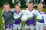 Football skills were the order of the day for the children who took part in Currow Cu?l Camp last week. .L-R Seamus Bradley, Adam Healy, Darragh Dennehy and Brian Roche