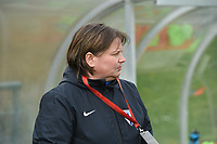 20190406  - Tubize , BELGIUM : Finland's coach Marianne Miettinen pictured during the soccer match between the women under 19 teams of Belgium and Finland , on the second matchday in group 2 of the UEFA Women Under19 Elite rounds in Tubize , Belgium. Saturday 6 th April 2019 . PHOTO DIRK VUYLSTEKE / Sportpix.be