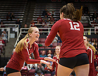 Stanford, CA - October 18, 2019: Jenna Gray, Audriana Fitzmorris at Maples Pavilion. The No. 2 Stanford Cardinal swept the Colorado Buffaloes 3-0.