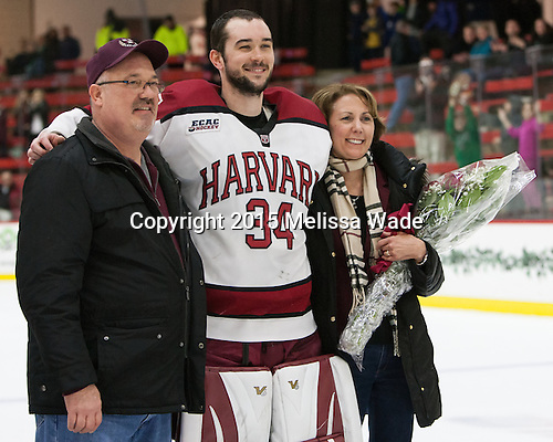 Tracy Michalek, Steve Michalek (Harvard - 34), Marianne Michalek - The Harvard University Crimson defeated the visiting Princeton University Tigers 5-0 on Harvard's senior night on Saturday, February 28, 2015, at Bright-Landry Hockey Center in Boston, Massachusetts.