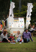 Pictured L-R: Wendy Davies with grandchildren Jake, 4, Libby, 6, and husband Royston Davies Saturday 13 August 2016<br />Re: Grow Wild event at  Furnace to Flowers site in Ebbw Vale, Wales, UK
