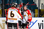 Stockholm 2014-01-08 Ishockey SHL AIK - Lule&aring; HF :  <br />  Lule&aring;s Per Ledin gratuleras ac Lule&aring;s Linus Klasen och Lule&aring;s Daniel Gunnarsson efter sitt 4-0 m&aring;l<br /> (Foto: Kenta J&ouml;nsson) Nyckelord:  jubel gl&auml;dje lycka glad happy