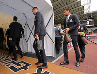 Pictured: Players of Manchester United arrive Sunday 30 August 2015<br /> Re: Premier League, Swansea v Manchester United at the Liberty Stadium, Swansea, UK