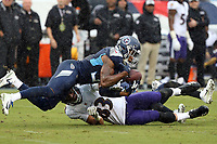 Tennessee Titans S Kevin Byard #31 in action against the Baltimore Ravens during an NFL football game between the Baltimore Ravens and the Tennessee Titans, Sunday, Oct. 14, 2018 in Nashville, Tenn. (Photo by Michael Zito/AP Images for Panini)