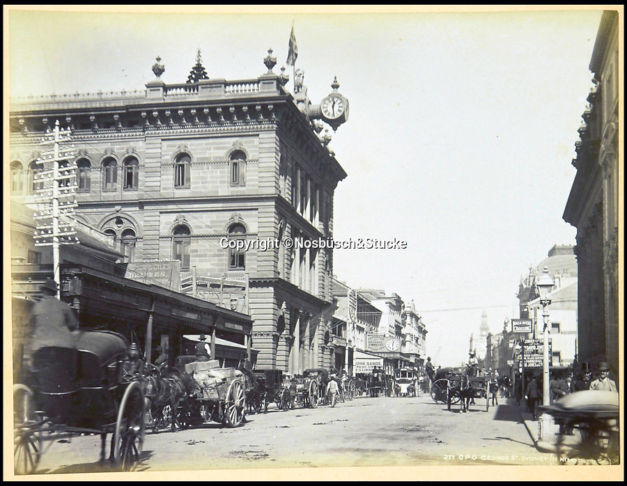 BNPS.co.uk (01202 558833)<br /> Pic: Nosbüsch&Stucke/BNPS<br /> <br /> General Post Office, George Street, Sydney.<br /> <br /> A stunning collection of photographs of Sydney decades before the iconic harbour bridge and opera house were built has been unearthed after 129 years.<br /> <br /> The black and white photo album captures the bustling city centre, picturesque main harbour and famous beaches of the future tourist hot-spot. <br /> <br /> The photos were taken by celebrated Australian photographer Henry King in 1888 who was born in England but emigrated to Australia at a young age and spent the rest of his life there.<br /> <br /> More recently they have fallen into the hands of a German collector who has decided to put them on the market and they are tipped to sell for £1,800.<br /> <br /> Many of Sydney's most recognisable landmarks including Manly beach and Coogee bay look very different to what backpackers would encounter today.<br /> <br /> King also took various photos of Circular Quay - the city's main harbour - but missing from them are images of the Sydney Harbour Bridge and Sydney Opera House as these landmarks were both not built until well into the 20th century.