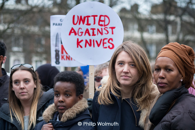 Camnden Council Leader Georgia Gould.  Camden Against Violence silent march by community campaigners and Camden NEU members mobilising against knife crime following a series of fatal stabbings in the borough .