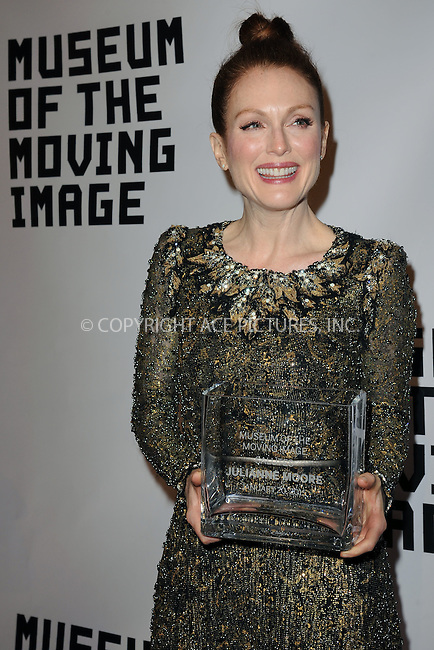 WWW.ACEPIXS.COM<br /> January 20, 2015 New York City<br /> <br /> Julianne Moore attending the Museum of The Moving Image honors Julianne Moore at 583 Park Avenue on January 20, 2015 in New York City.<br /> <br /> Please byline: Kristin Callahan/AcePictures<br /> <br /> ACEPIXS.COM<br /> <br /> Tel: (212) 243 8787 or (646) 769 0430<br /> e-mail: info@acepixs.com<br /> web: http://www.acepixs.com