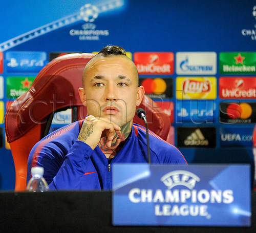 October 30th 2017, Rome, Italy; Press conference for AS Roma before their Champions League game versus Chelsea on 31st October in Rome;   Radja Nainggolan