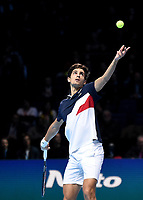 Pierre-Hughes Herbert in action with partner Nicolas Mahu against Jack Sock and Mike Bryan in their doubles Final match today<br /> <br /> Photographer Hannah Fountain/CameraSport<br /> <br /> International Tennis - Nitto ATP World Tour Finals Day 8 - O2 Arena - London - Sunday 18th November 2018<br /> <br /> World Copyright &copy; 2018 CameraSport. All rights reserved. 43 Linden Ave. Countesthorpe. Leicester. England. LE8 5PG - Tel: +44 (0) 116 277 4147 - admin@camerasport.com - www.camerasport.com