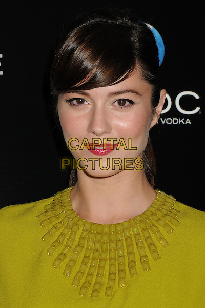 Mary Elizabeth Winstead<br /> &quot;A.C.O.D.&quot; Los Angeles Premiere held at the Landmark Theatre, Los Angeles, California, USA, <br /> 26th September 2013.<br /> portrait headshot fringe smiling makeup beauty red lipstick chartreuse skirt print top yellow green cape embellished <br /> CAP/ADM/BP<br /> &copy;Byron Purvis/AdMedia/Capital Pictures