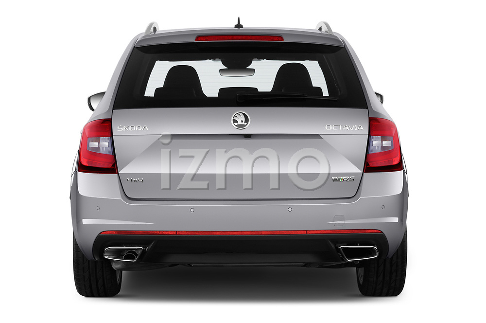 Straight rear view of 2017 Skoda Octavia-Combi RS 5 Door Wagon Rear View  stock images