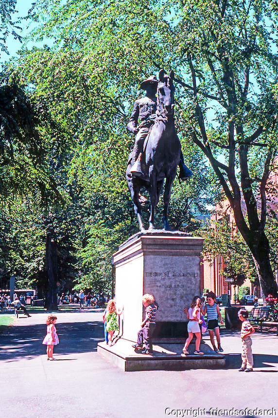 "Portland: Equestrian Statue--""Theodore Roosevelt, Rough Rider"" by A. Phimister Procteor, 1922.  The park blocks--between Jefferson & Madison."