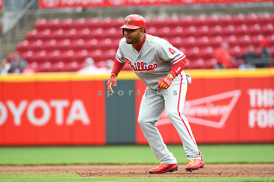 Philadelphia Phillies Andres Blanco (4) during a game against the Cincinnati Reds on April 6, 2017 at Great American Ballpark in Cincinnati, OH. The Reds beat the Phillies 4-7.