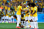 Brazil team group (BRA),<br /> JUNE 28, 2014 - Football / Soccer :<br /> Brazil's Neymar (C) celebrates scoring his penalty shoot out during the FIFA World Cup Brazil 2014 Round of 16 match between Brazil 1(3-2)1 Chile at Estadio Mineirao in Belo Horizonte, Brazil. (Photo by D.Nakashima/AFLO)