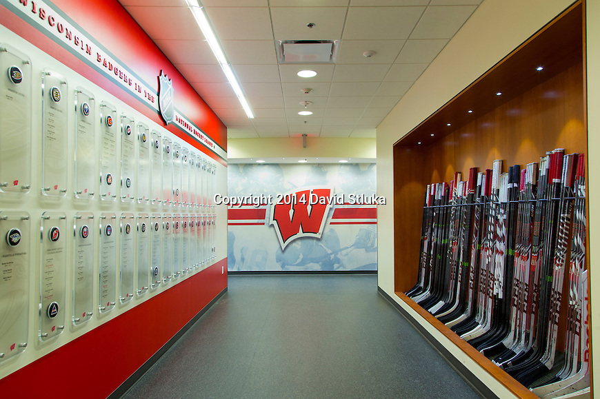 A general view of the Wisconsin Badgers men's hockey locker room entry way at LaBahn Arena Tuesday, February 11, 2014 in Madison, Wis. (Photo by David Stluka)