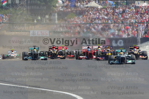 Start of the Hungarian F1 Grand Prix in Mogyorod (about 20km north-east from capital city Budapest), Hungary on July 28, 2013. ATTILA VOLGYI
