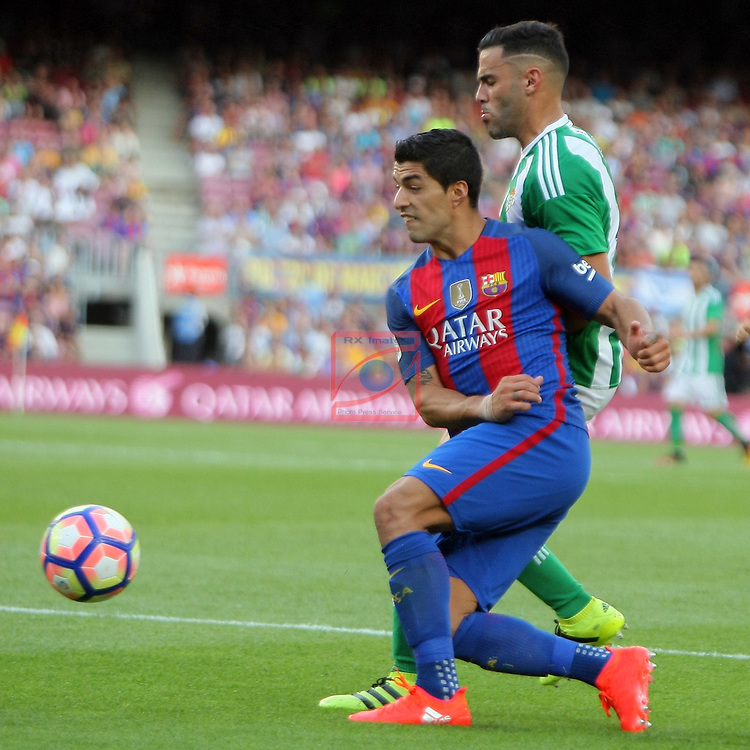 League Santander 2016/2017. Game: 1.<br /> FC Barcelona vs Real Betis: 6-2.<br /> Luis Suarez vs Bruno.