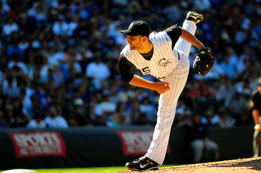 07 September 08: Colorado Rockies pitcher Taylor Buchholz delivers a pitch against the Houston Astros. The Houston Astros defeated the Colorado Rockies 7-5 at Coors Field in Denver, Colorado. FOR EDITORIAL USE ONLY