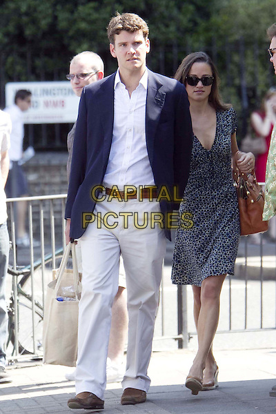 Pippa Middleton and Alex Loudon make their way to Lords Cricket ground, London, England..July 3rd, 2011.full length couple sunglasses shades beige trousers white shirt blue suit jacket grey gray black leopard print dress tall short brown bag purse  .CAP/HIL.©John Hillcoat/Capital Pictures .