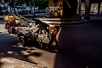 Handcart puller, known as carroceiro, street worker commonly found at Rio de Janeiro streets, collects all kinds of stuff for selling or exchanging. The man has 3 beautiful dogs as companions.