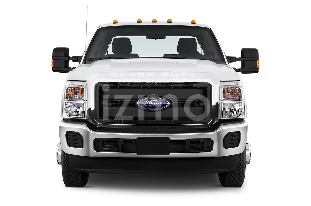 Car photography straight front view of a 2015 Ford F-350 Super Duty XL 4x4 SuperCab 158-In DRW 2 Door pickup Front View