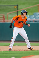 Bowie Baysox third baseman Ryan Mountcastle (4) leads off first base during the first game of a doubleheader against the Trenton Thunder on June 13, 2018 at Prince George's Stadium in Bowie, Maryland.  Trenton defeated Bowie 4-3.  (Mike Janes/Four Seam Images)