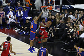 17th January 2019, The O2 Arena, London, England; NBA London Game, Washington Wizards versus New York Knicks; Chasson Randle of the Washington Wizards shoots a reverse lay up from under the net