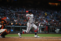 SAN FRANCISCO, CA - MAY 21:  Dansby Swanson #7 of the Atlanta Braves bats against the San Francisco Giants during the game at Oracle Park on Tuesday, May 21, 2019 in San Francisco, California. (Photo by Brad Mangin)