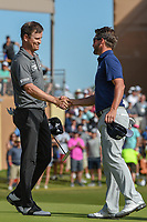 Zach Johnson (USA) and Andrew Landry (USA) shake hands following Round 4 of the Valero Texas Open, AT&amp;T Oaks Course, TPC San Antonio, San Antonio, Texas, USA. 4/22/2018.<br /> Picture: Golffile | Ken Murray<br /> <br /> <br /> All photo usage must carry mandatory copyright credit (&copy; Golffile | Ken Murray)