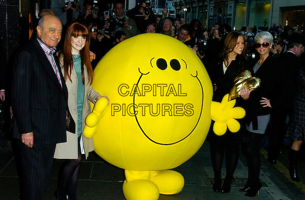 MOHAMED AL FAYED NICOLA ROBERTS, MR. HAPPY, KIMBERLEY WALSH & SARAH HARDING.Gold Heart Appeal launch at Harrods, London, UK..February 1st, 2007.full length beige coat mac trench sunglasses shades girls aloud dress up costume skirt Mohammed.CAP/CAN.©Can Nguyen/Capital Pictures