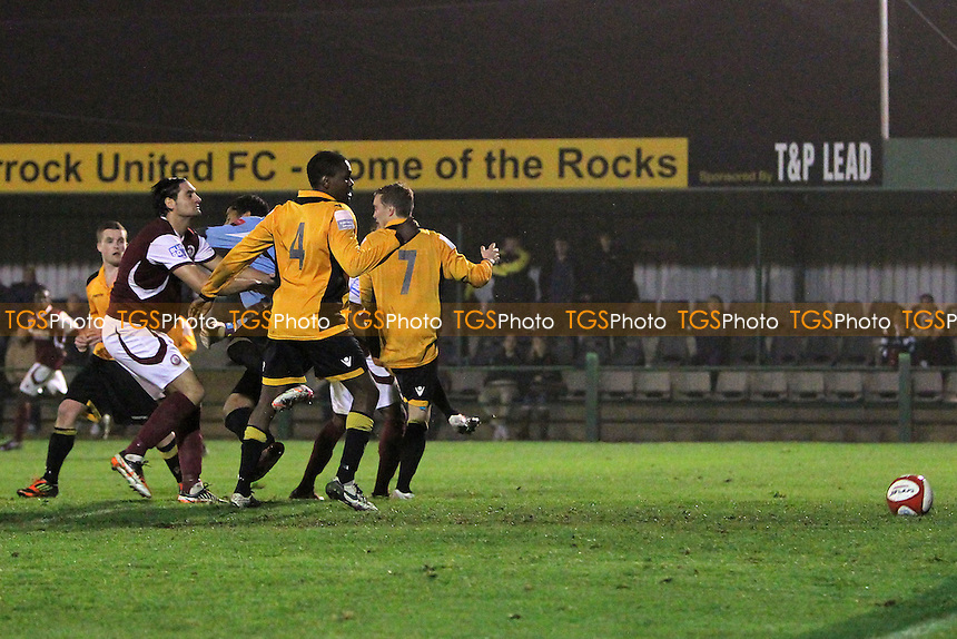 Chelmsford score their third goal of the game - East Thurrock United vs Chelmsford City - FA Cup 4th Qualifying Round Football at Rookery Hill - 23/10/12 - MANDATORY CREDIT: Gavin Ellis/TGSPHOTO - Self billing applies where appropriate - 0845 094 6026 - contact@tgsphoto.co.uk - NO UNPAID USE.