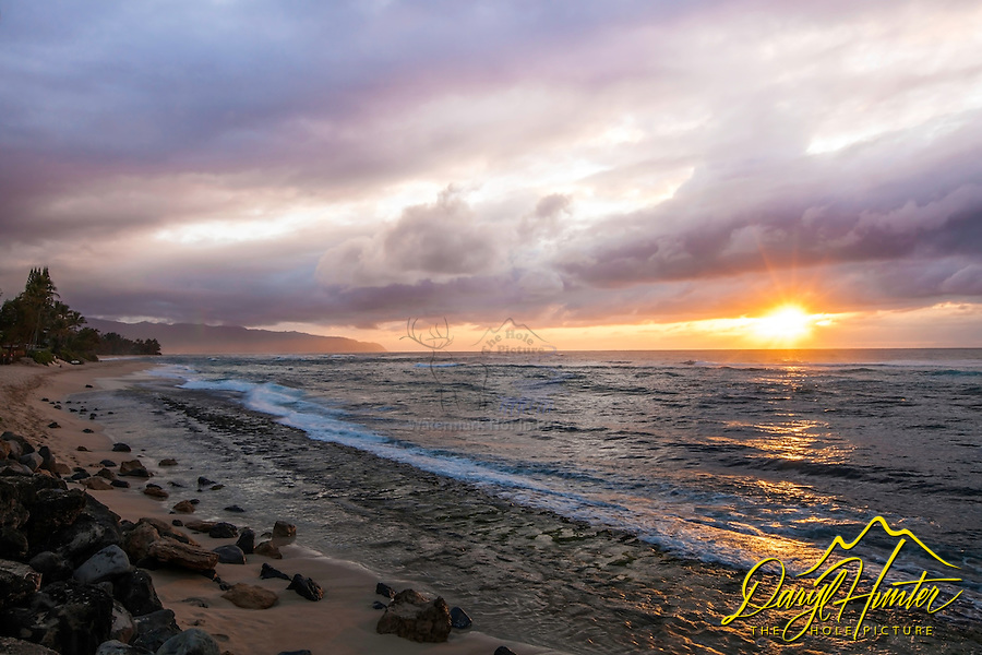 Laniakea Beach Sunset on the north shore of Oahu, Hawaii.