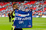 Elias Kachunga of Huddersfield Town celebrates at full time during the SkyBet Championship Play Off Final match at the Wembley Stadium, England. Picture date: May 29th, 2017.Picture credit should read: Matt McNulty/Sportimage