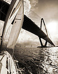Sailboat sailing sunset beneteau 49 yacht cooper river bridge charleston sc