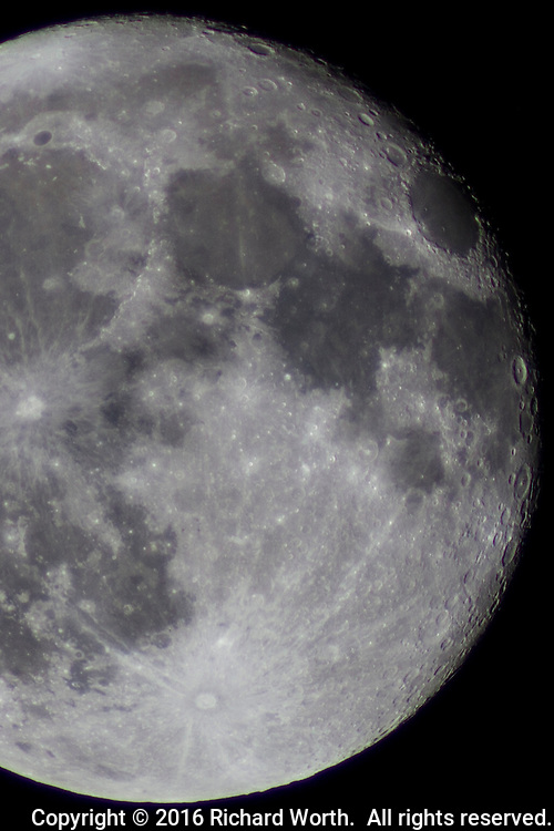 One day after full, the waning gibbous moon, craters and all.