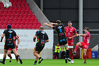 Dan Jones of Scarlets in action during the Guinness Pro14 Round 02 match between the Scarlets and Zebre Rugby at the Parc Y Scarlets Stadium in Llanelli, Wales, UK. Saturday 12 October 2019