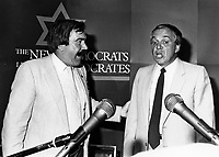 Montreal (QC) CANADA - 1984 File photo - John (Jean-Claude) Harney, Leader NDP-Quebec (L) and  Ed Broadbent, Leader New Democratic Party (R)<br /> <br /> PHOTO :  Agence Quebec Presse