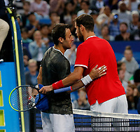 3rd January 2020; RAC Arena, Perth, Western Australia; ATP Cup Australia, Perth, Day 1, Russia versus Italy; Karen Khachanov of Russia embraces Stefano Travaglia of Italy after he defeated the Italian 2 sets to love - Editorial Use