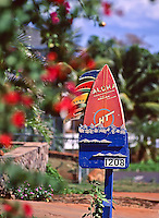 "Colorful, distinctive ""Four Fins Surf Camp"" mailbox of the late Jaiom Berger, Lahaina, Maui, circa 1995."