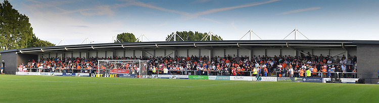 The Blackpool fans fill the away end<br /> <br /> Photographer Dave Howarth/CameraSport<br /> <br /> Football Pre-Season Friendly - AFC Fylde v Blackpool - Tuesday July 16th 2019 - Mill Farm - Fylde<br /> <br /> World Copyright © 2019 CameraSport. All rights reserved. 43 Linden Ave. Countesthorpe. Leicester. England. LE8 5PG - Tel: +44 (0) 116 277 4147 - admin@camerasport.com - www.camerasport.com